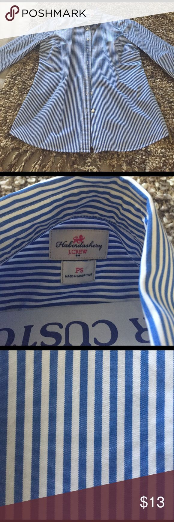 J Crew Haberdashery shirt JCrew Haberdashery striped blue and white dress shirt . NWOT worn once and dry cleaned. Size Petite small J. Crew Tops Blouses