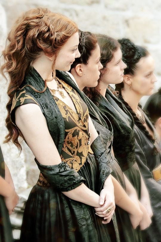 Margaery | Game of Thrones Season 5 costume details. Note that her costumes now grow darker in colour. Interesting..