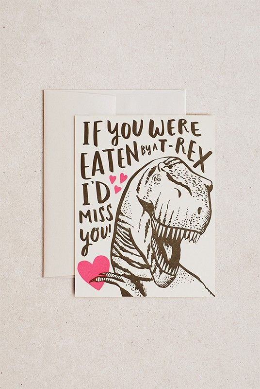 Buy Hello Lucky - Single Card - T-Rex Love by Hello Lucky from NoteMaker.com.au & receive FREE shipping on Aust orders over $99 & I/N orders over $199