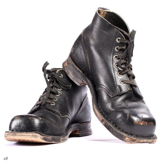 Vintage black combat boots  Swedish army military boots  Comes from 1970s  Made from leather all around, sole included  Very good vintage condition,
