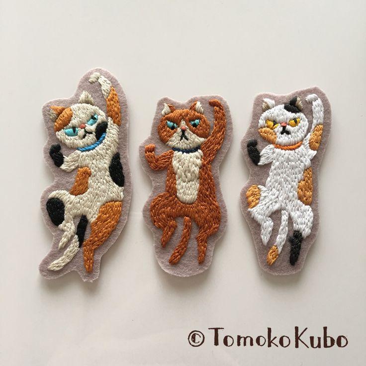 #embroidery #刺繍 #cat #ネコ # #TomokoKubo #クボトモコ