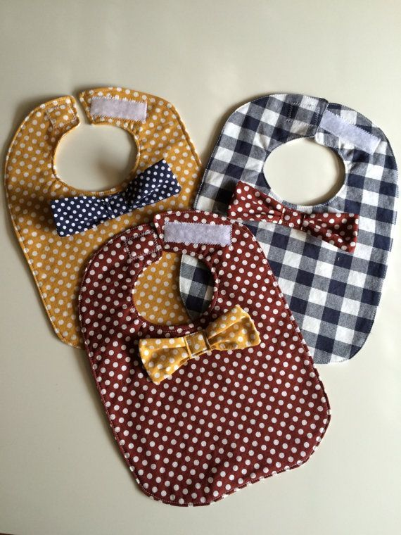 Brooklyn Hipster baby bibs! Set of 3, with velcro fastener and adorable bow ties! Available on Etsy - New York City Inspired