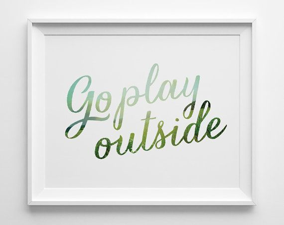 Go Play Outside Kids Wall Art, Blue and Green Kids Room Decor, Modern Playroom Decor, Boys Room Decor, Pastel Play Room Art, Summer Outdoors on Etsy, $10.00