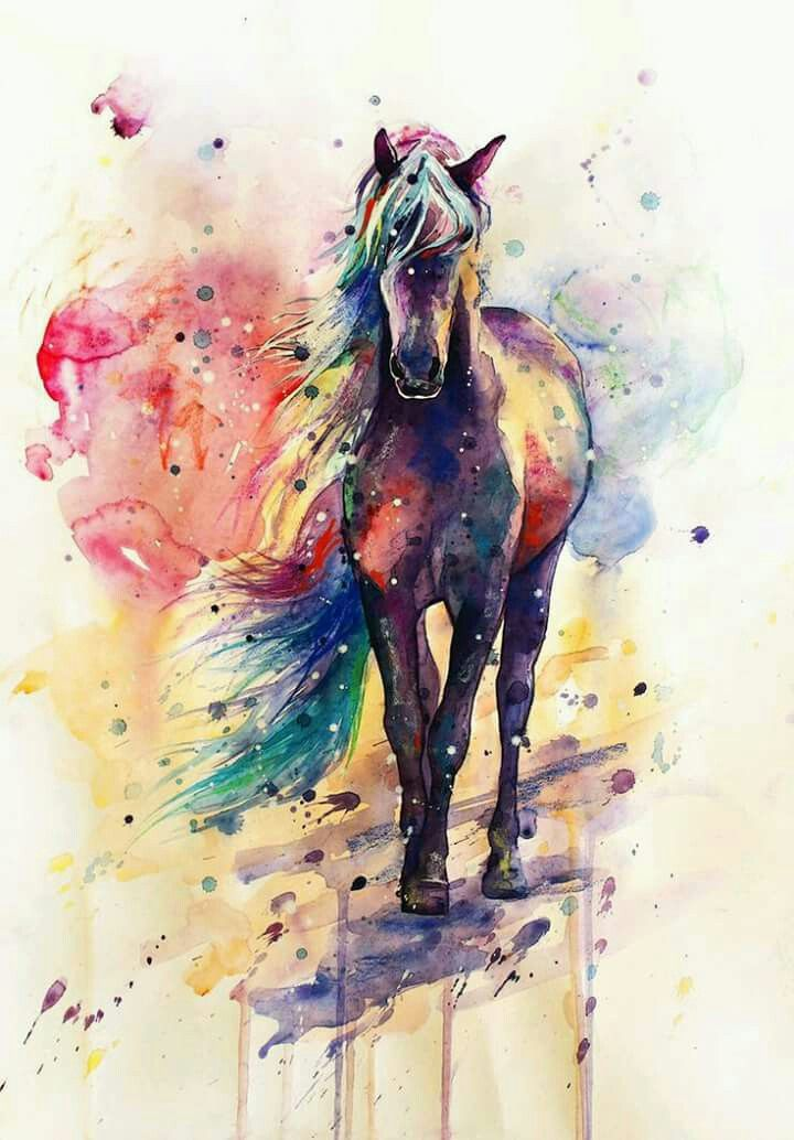 Watercolor horse painting with rainbow colored mane.