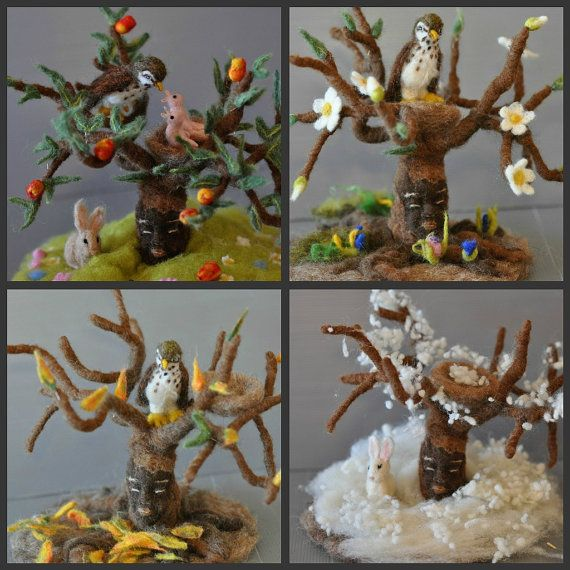 Needle felted Waldorf  Seasonal tree Spring, Winter, Summer and Autumn for your natural table-needle felt by Daria LvovskyMade to order. $450,00, via Etsy.