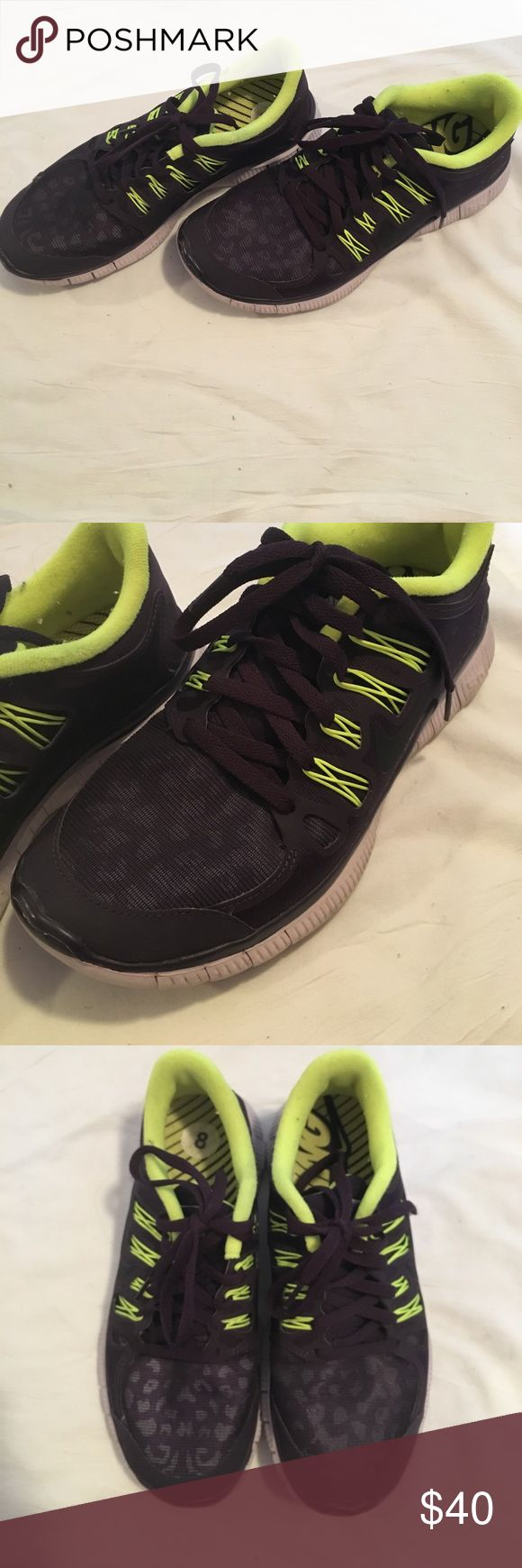 Nike Free 5.0 Nike Free 5.0 shoes. Dark purple with cute cheetah print on toes, neon yellow/green accents. Hardly worn. Size 8. Nike Shoes Sneakers