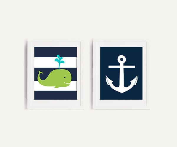 Nautical Navy and lime Whale nursery art print, navy and lime green bedding nursery decor set of 2 prints, 8x10 PRINTABLES by OnlyPrintableArts on Etsy