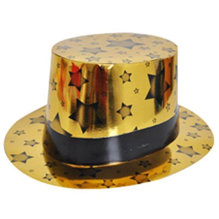 Altın Renk Siyah Bandlı Kağıt Fötr Şapka