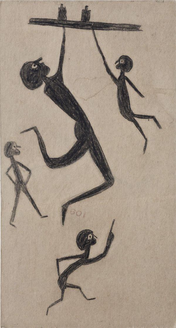 Bill Traylor, figures hanging, walking, standing