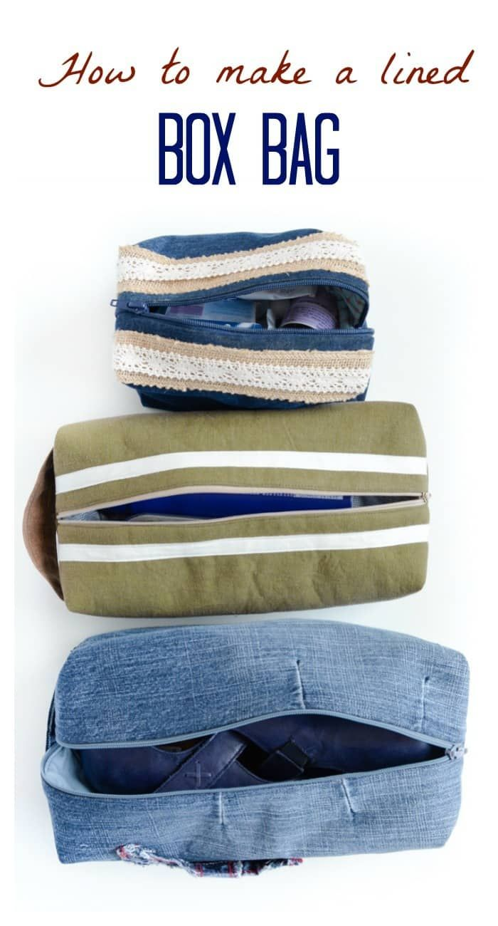 Sew a versatile box bag, perfect for storage, toiletries, craft projects, DIY Box Bag Tutorial, Includes written instructions and video