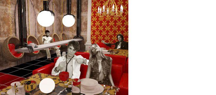 theme restaurant ristorante tematico interior interni Milano design sala pranzo rosso