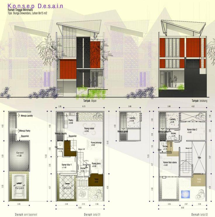 Bila anda menyukai konsep rumah semibasement sebagai rumah idaman anda, desain rumah yang diberi nama tipe BUNGA DEWANDARU ini insyaAllah memberikan nuansa yang berbeda baik dari tampak maupun tatanan layoutnya. Rumah yang didesain di lahan yang tidak terlalu panjang yaitu 15 meter ini menawarkan tatanan rumah urban serta tampilan rumah minimalis yang sedikit komtemporer, hal tersebut bisa terlihat dari model atapnya. :)