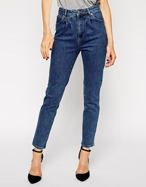ASOS Farleigh High Waist Slim Mom Jeans in Mid Wash with Pleat Detail