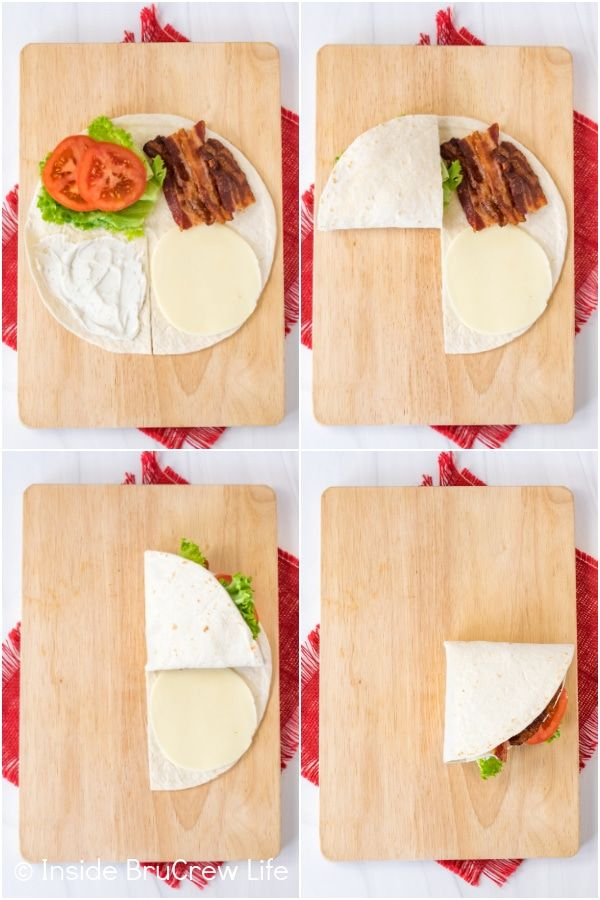 Blt Tortilla Wrap Hack Fold A Tortilla Around Bacon Lettuce And Tomatoes And Then Cook It For A Delicious Meal In 2021 Tortilla Wraps Wrap Recipes Wrap Sandwiches