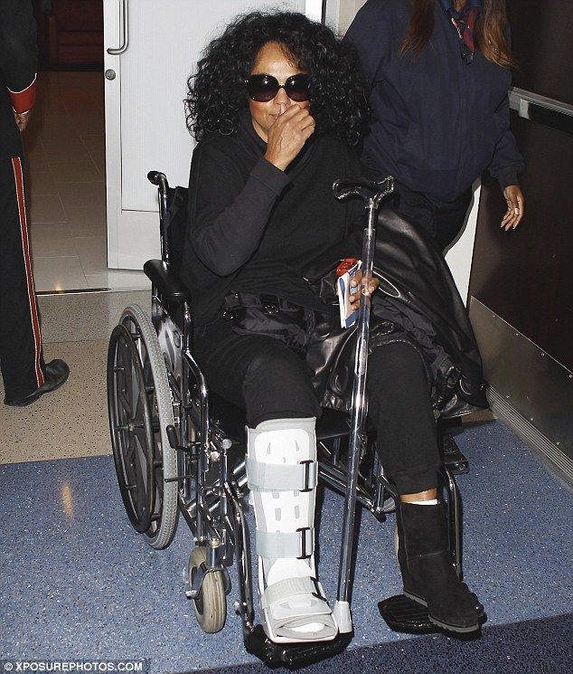 Diana Ross breaks ankle at Naomi Campbell's boyfriend's birthday party.
