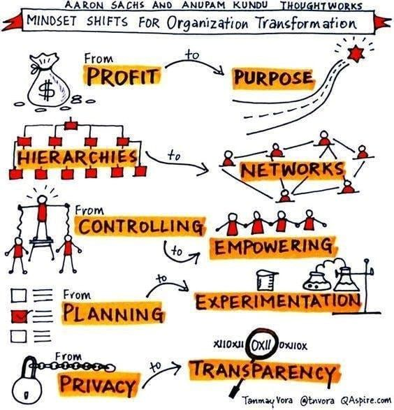 Mindset shifts for organization transformation. #training #leadership #human #networking #purpose #profit #privacy