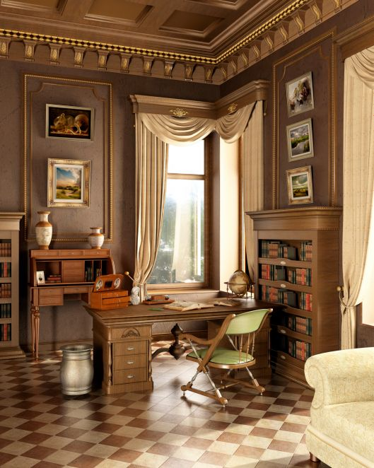 Luxurious home office with tile floor, crown molding on the ceiling