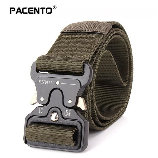 Pacento Men's Canvas Belt Metal Insert Buckle Military Nylon Training Belt Army Tactical Belts for Men Best Quality Male Strap