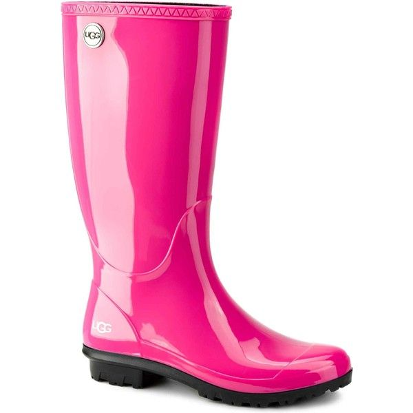 UGG Women's Shaye Furious Fuchsia Rain Boots ($80) ❤ liked on Polyvore featuring shoes, boots, pink, pink rubber boots, water proof boots, pink boots, rubber boots and waterproof shoes