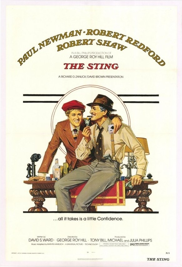 The Sting, 1973.  Poster art by Richard Amsel.