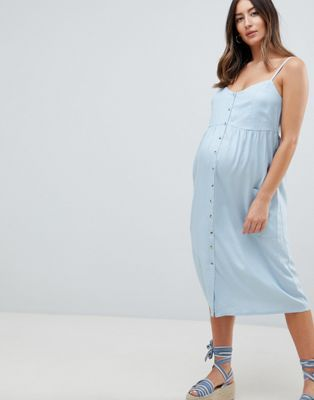 New Look Zwangerschapskleding.New Look Maternity Button Through Midi Dress In Blue Baby Pinterest