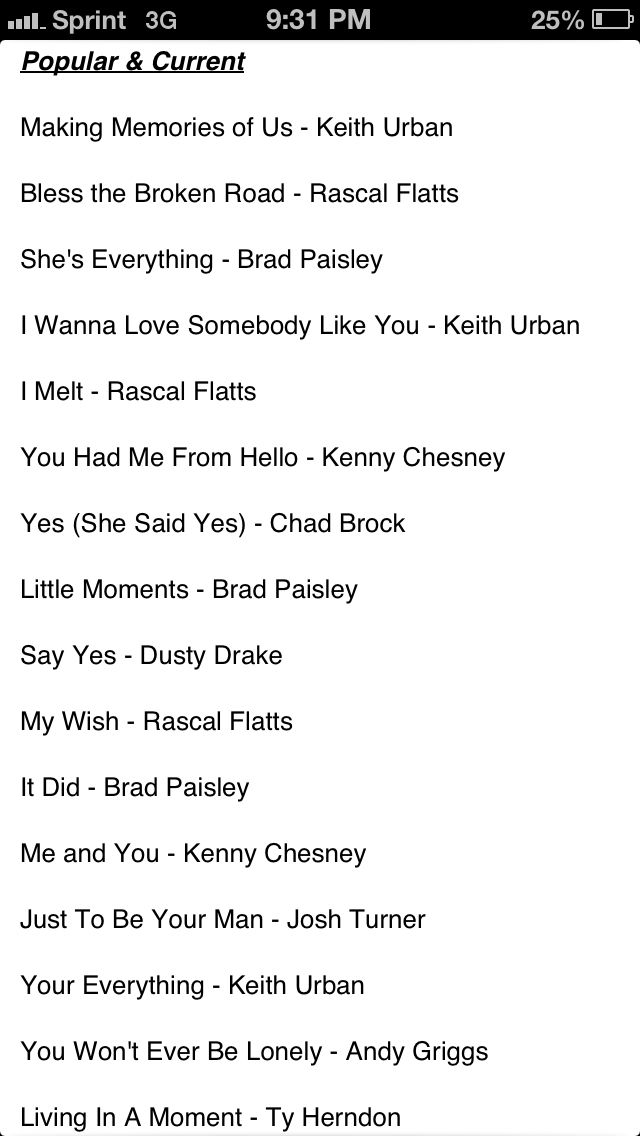 Country wedding songs these are going to be played at my wedding :) <3