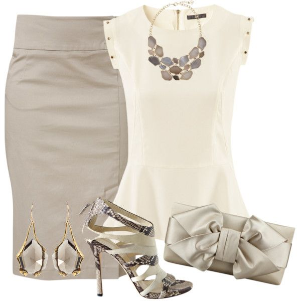 """Beige Pencil skirt and top"" by missyalexandra on Polyvore"