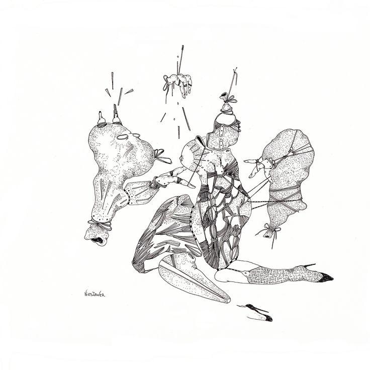 Céline Nieszawer, Déjeuner sur l'herbe, 2014 Encre sur papier, courtesy NextLevel Galerie
