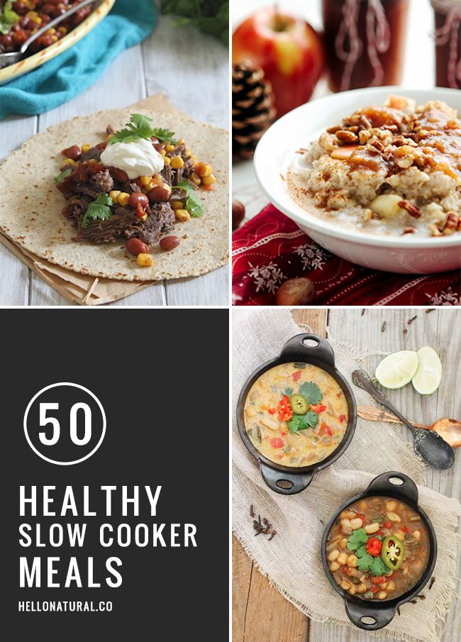 50 Healthy Slow Cooker Meals | HelloNatural.co #healthy #slowcooker #comfortfood