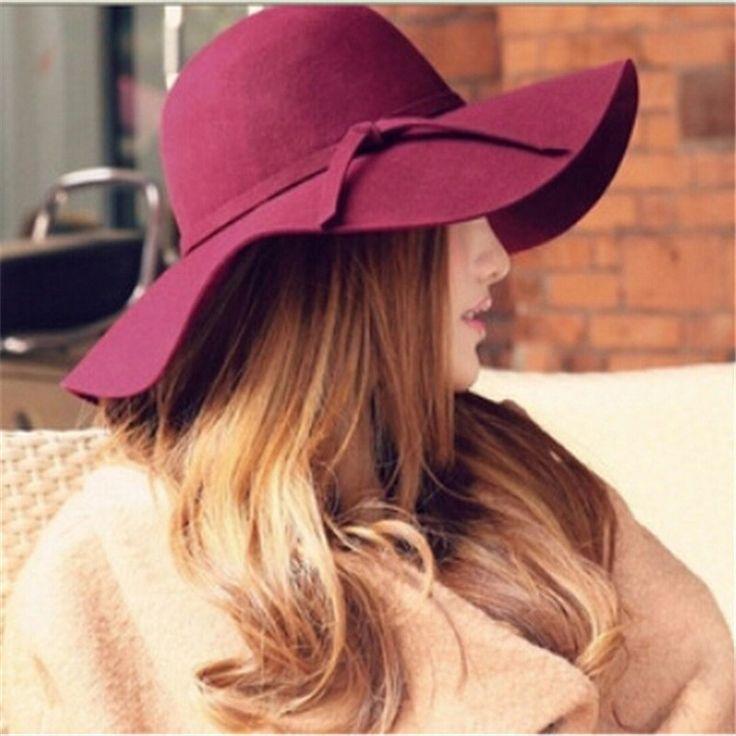 2015 6 Colors Fashion Vintage Women Lady Wide Brim Faux Wool Sun Hats Felt Bowler Fedora Hat Floppy Bowknot Sun Cap Beach N807