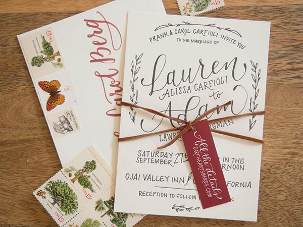 Hand Lettered Rustic Wedding Invitations by Bright Room Studio / Oh So Beautiful Paper