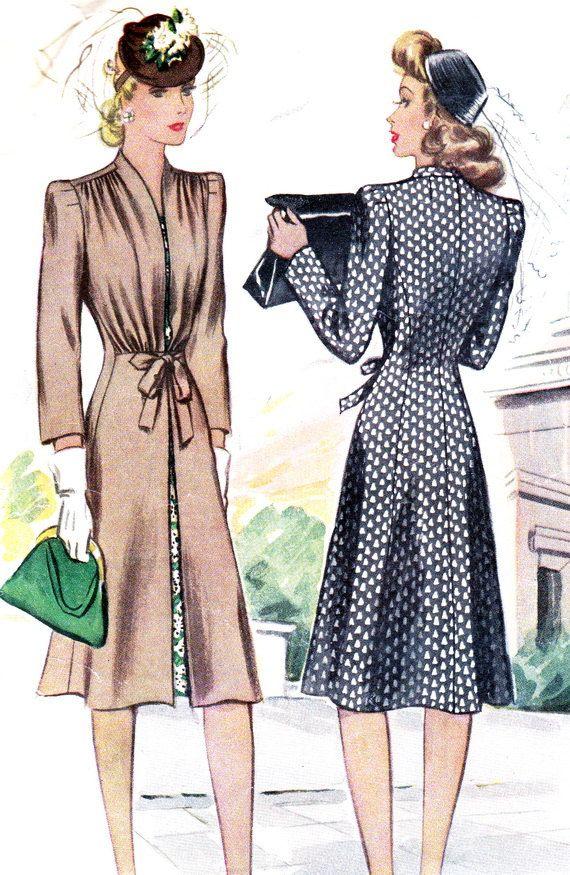 1940s Womens Coat Pattern McCall 4085 Redingote Coat with Shoulder Tucks Waist Tie Vintage Sewing Pattern Bust 36