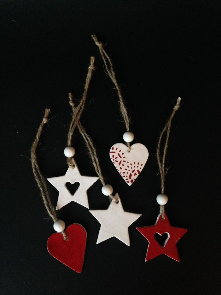 Air-drying clay hearts and stars