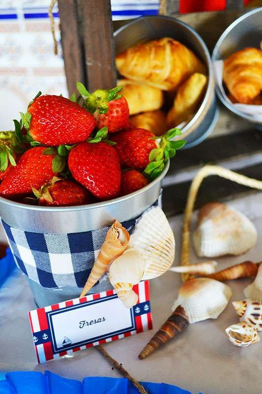 Strawberries at a nautical birthday party! See more party planning ideas at CatchMyParty.com!