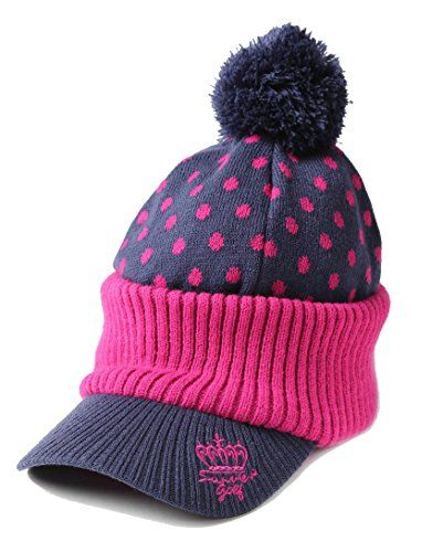 2bf33fcbe00 UK Golf Gear - SVG Women Knitted Golf Visor Beanie Cap Winter Pom Newsboy  Hat Dotted Free Size