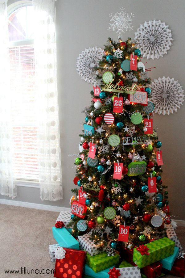 bright colorful christmas trees | think we'll also add Christmas Scriptures to the back of each ...