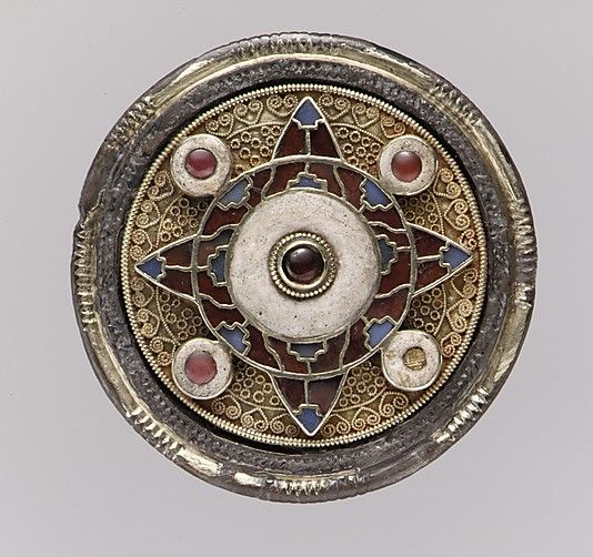 Anglo-Saxon Disk Brooch, early 7th century.