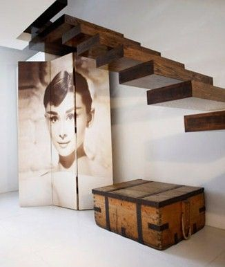 Audrey Screen, Antique Trunk, Floating Staircase..love love love!!!!