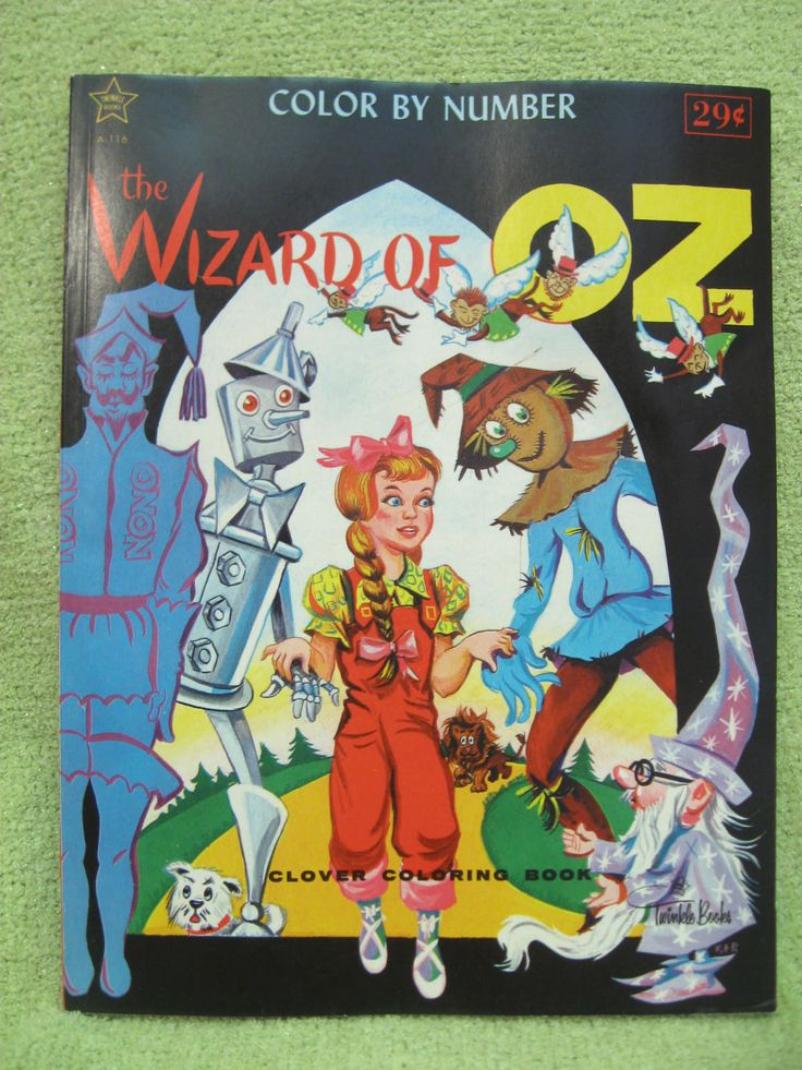 WIZARD OF OZ Vintage Coloring Book UNCOLORED UNUSED Finland COLOR BY NUMBER
