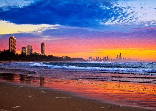 View from Burleigh beach. Australia.