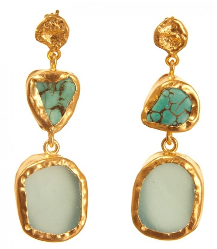 The Spirited Two Turquose Blue Topaz Gold Earrings by Zariin. Handcrafted with turquoise and blue topaz in 22kt gold plating.  See the collection at www.zariin.com  #turquoise #blue #topaz #goldplated #earrings #zariin #jewelry