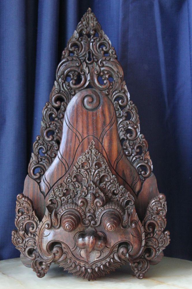 Vintage Hand Carved Timber GARGOYLE Set Into TEMPLE Frame  #WALLHANGING