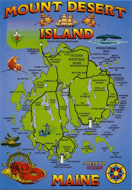 postcard - Mt. Desert Island, Maine map 1 by Jassy-50, via Flickr