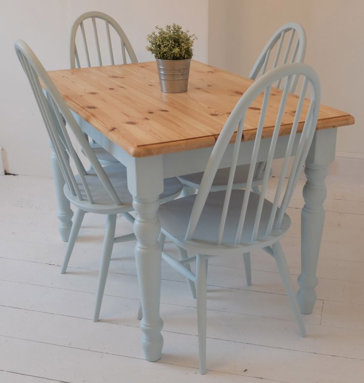 "Here is a wonderful painted legged SOLID pine table. Painted in: Rustoleum ""Duck Egg blue"" Features a wonderfully toned dupont edge table top & stunningly blue painted legs & trim. For transport & access the table legs can be removed. All our items are refurbished or upcycled, so our products will have minor signs of use …"