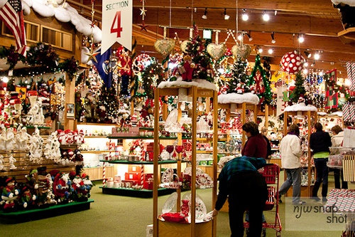 Bronner's Christmas Store -  Frankenmuth, MI.  The world's LARGEST Christmas store I have ever seen, opened year around.