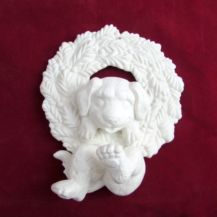 Ready to Ship and ready to paint Puppy Dog in Wreath Christmas Ornament -8 inches - ceramic bisque by aarceramics on Etsy
