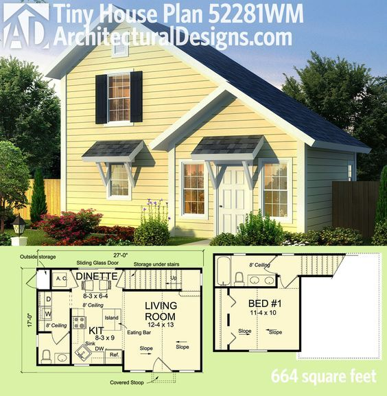 Superb Architectural Designs Tiny House Plan 52281WM Gives You Just Over 650 Sq.  Ft. Of