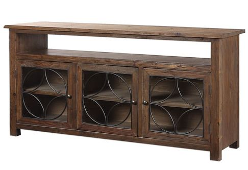 Dearborn Chocolate Reclaimed Pine Credenza-This credenza is the ideal size for the space, raises the TV to a great height and provides attractive storage from @bellacor Rustic media storage, transitional media storage