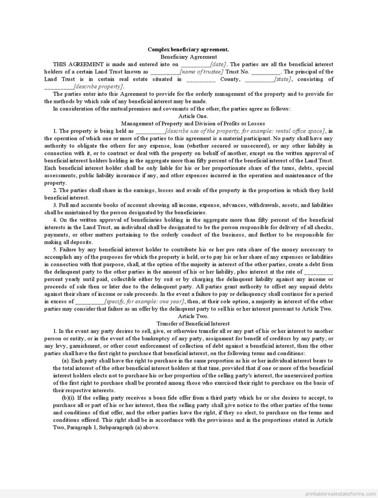 Sample Printable complex beneficiary agreement Form (With
