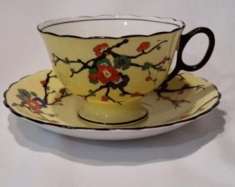 Grimwades Atlas China Canary Yellow 'Blackthorn' Antique Tea Set